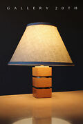 Mid Century Modern Wood And Brass Lamp 40and039s Gibbings Light 50and039s Vtg Atomic Retro