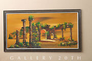 Striking Mid Century Orig Impressionist Oil Painting Vtg Raymor Art 50and039s 60and039s
