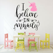 I Believe In Miracles Unicorn Quote Wall Decal Sticker Ws-46910
