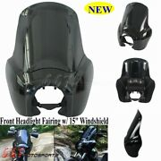 Motorcycle Front Headlight Fairing W/ 15and039and039 Windshield Cover For Harley-davidson