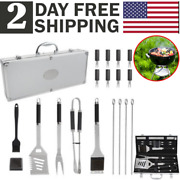 Bbq Set Stainless Steel Barbecue Utensils Kit Outdoor Grill Tools Case 19 Piece