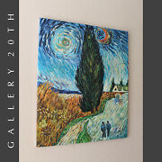 Impressionist Oil Painting Van Gogh's Road With Cypress And Star Art Re-creation