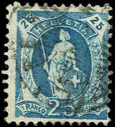 Scott 112 - 1905 - And039 Helvetia And039 Large Stars In Frame White Paper And039errorand039