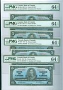 Canada-notes 4x 5..1937 Issue With Sequences All Pmg-64 Epq