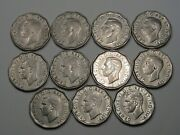 11 Better-date 1946 Canadian 5 Cent Coins Part Roll. Canada. 25