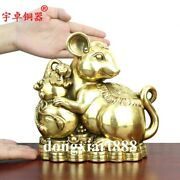 21 Cm Chinese Zodiac Wealth Fengshui Animal Lucky Mouse Rat Copper Brass Statue