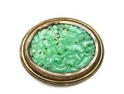 1930and039s Chinese Gold Wash Silver Jade Jadeite Carved Carving Plaque Brooch Pin