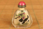 Natural Hair Crystal Old Painting Cat Love Statue Figure Snuff Bottle Gift