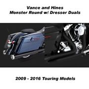 Vance And Hines Touring Monster Round Slip-ons Black Dresser Duals 09-16 Touring