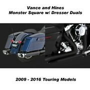 Vance And Hines Touring Monster Square Slip-on W/black Dresser Duals 09-16 Touring