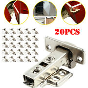 20pcs Kitchen Cabinet Door Hinges Soft Close Hydraulic Slow Shut Clip-on Plate