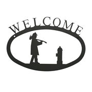 Fireman And Hydrant Wrought Iron Powdercoated Black 11 X 7  Welcome Sign