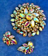 Sherman Aurora Borealis Rare Large 3d Floral Brooch And Pair Of Clip Earrings Set