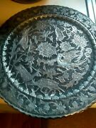 Rare Vintage Chinese Hammered Pewter Over Copper Ornate Wall Plate