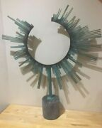 Signed Curtis Jere Rare 1987 Sunburst Table Sculpture Brass And Marble Abstractandnbsp