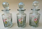 Vintage Floral Hand Painted Collectible Glass Perfume Bottles With Stoppers Q-3