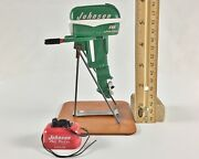 Miniature Outboard, Toy Boat Motor, Green 1955 Johnson 10 Hp And Matching Gastank