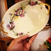 Nippon Signed Hand Painted Flower Porcelain Dish