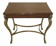 47625ec Karges Brass And Walnut Accent Table Regency Style