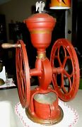 Antique 1800s Woodruff And Edwards National Mill Coffee Grinder Brass And Iron