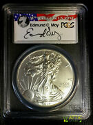 2014-w 1 Silver Eagle Pcgs Ms70 Ed Moy Signed - Struck At West Point