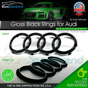 Audi Rings Front Grill And Rear Trunk Emblem Gloss Black Logo A3 A4 S4 A5 S5 A6 S6