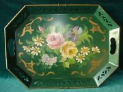 """Vntg Green Metal Cottage Tole Hand Painted Cabbage Rose Flowers Tray 18"""" X 13"""""""