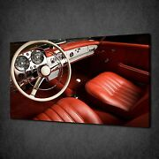 Red Old Vintage Car Leather Interior Canvas Wall Art Print Picture Ready To Hang