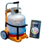 Propane Easy Cart Tank Carrier For Bbq Grill W- 20 Lb Scale Fuel Gauge Included