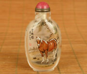 Natural Hair Crystal Hand Painting Horse Statue Figure Snuff Bottle Hand Piece