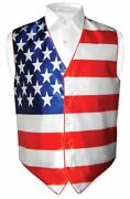 Menand039s Dress Vest American Flag Design Red White Blue Color For Suit Or Tuxedo