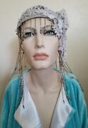 20and039s Silver Beaded Gatsby Lace Crystal Flapper Wedding Headpiece Hat Belly Dance