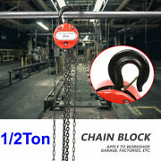 Chain Hoist Block And Tackle 1/2 Ton Winch Capacity Engine Lift Puller Fall Usa