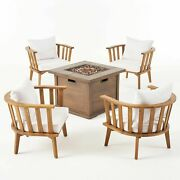 Natasha Outdoor Acacia Wood 4 Seater Club Chairs And Fire Pit Set