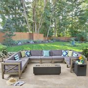 Lorelei Outdoor Sectional Sofa Set With Fire Pit 12-piece 10-seater Acacia Wood