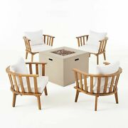 Ayla Outdoor Acacia Wood 4 Seater Club Chairs And Fire Pit Set
