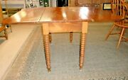 Antique Early Cherry Drop Leaf Drop Side Table Turned Legs Old Finish