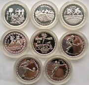 Egypt 1992 Barcelona Olympics Set Of 8 Silver Coins,proof,rare