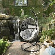 Leasa Outdoor Wicker Hanging Basket Chair With Water Resistant Cushions And Base