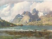 Vintage Alfred Heaton Cooper The Raft Sund Loffoden Islands Norway 29andrdquox22andrdquo Litho