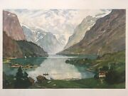 """Vintage Alfred Heaton Cooper 1864-1929 Norway 26""""x20"""" Lithograph"""