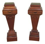 31174ec Pair Mahogany Adam Style Carved Plant Stand Pedestals