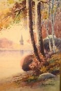 Augusto Acores Watercolor Lake Scene With Trees
