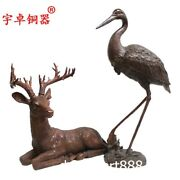 63 Cm Chinese Bronze Red-crowned Crane Deer Auspicious Fengshui Animal Statue