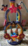 Vintage Mexican Folk Art Pottery Tree Of Life Candelabra Signed
