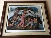 Wai Ming Girls In A Sampan Limited Edition Lithograph Print With Coa Framed