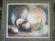 Beautiful Original Oil Painting Raenell Doyle Still Life W/wooden Frame Signed