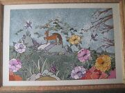 Japanese/chinese Flowers Birds Original Watercolor On Silk With Frame