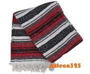 Authentic Red Mexican Falsa Blanket Hand Woven Yoga Mat Blanket 72 X 49