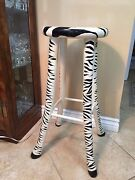 Rare Vintage Vermont Sled Co. Handmade And Painted Zebra Wooden High Stool Chair